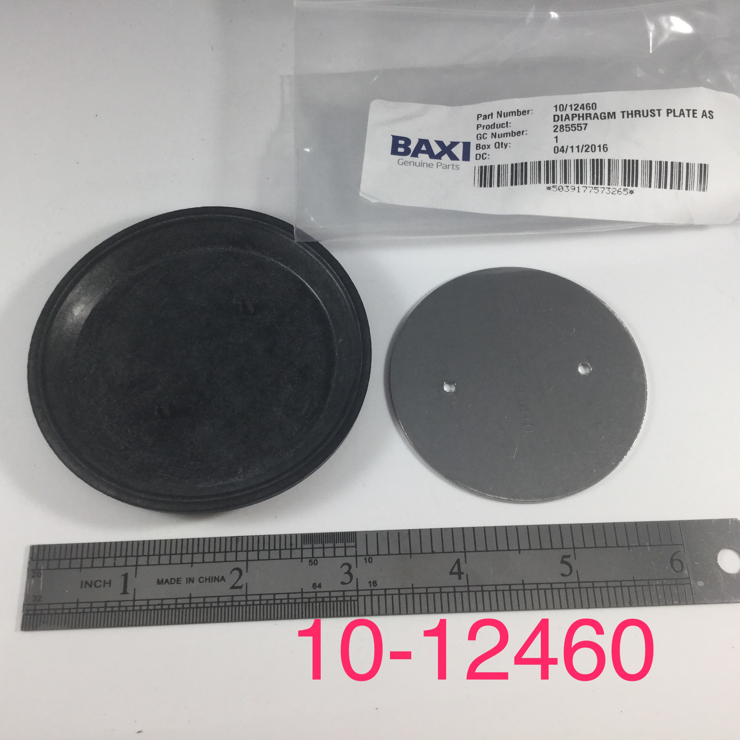 Diaphram, Rubber W/Plate